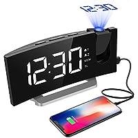Projektionswecker, Mpow FM Radiowecker mit Projektion, 5'' LED-Anzeige, digitaler Wecker, Reisewecker, Tischuhr, Dual-Alarm, 6 Helligkeit, 4 Alarmt?ne mit 3 Lautst?rke, 9 ' Snooze,120¡ã, Wei?