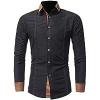 Hombre Camisas, Han Shi moda sólido Casual manga larga oficina parte botón blusa Tank tops