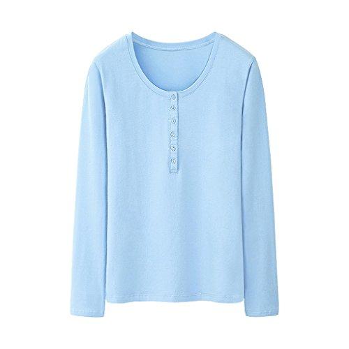 Mujeres B Xiang Invierno color Color Shi Shop De Las Blusa Camiseta Larga A Sólido Tamaño S Delgada La Manga Li 6qng1Ax