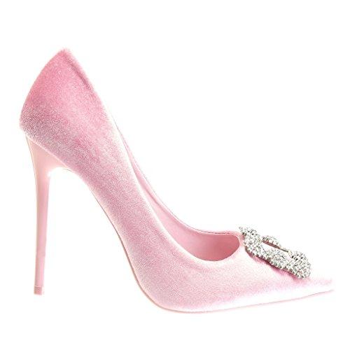 Angkorly - Scarpe da Moda scarpe decollete stiletto sexy donna strass gioielli Tacco Stiletto tacco alto 11 CM - Rosa