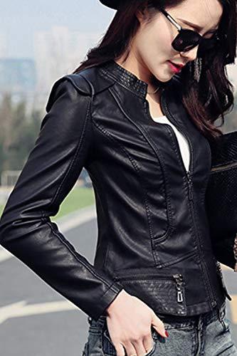 Black Slim Fanvans Chaquetas Fit Bolero Chaqueta Cuero De Mujer SnP6qU
