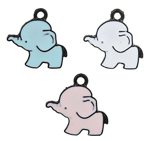 Purse Enameled Pink (Lucky Elephant Charm Pendants 28 Pack, Enamel, 3 Different Colors - Cute DIY Jewelry Making)