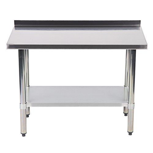 24''x48'' Stainless Steel Work Table with Backsplash Kitchen Restaurant Table EB by BestMassage