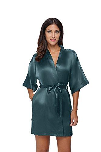 - The Bund Women's Pure Colour Short Satin Kimono Robes with Oblique V-Neck, XXX-Large, Dark Green