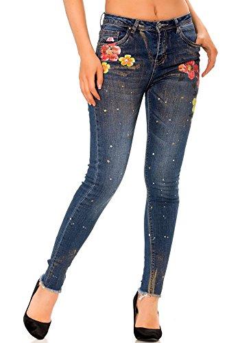 À Paillettes Fashion Motifs Dmarkevous Dorés Fleurs Femme 34 Slim Très Bleu Jean ICxFxqpwZ