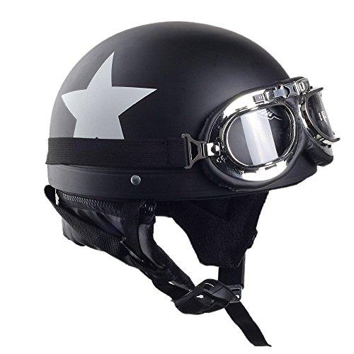 Ocamo - Casco de seguridad unisex para motocicleta con lentes, Visera desmontable, Casco con patrón de estrella blanco,...