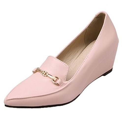 Solid PU Kitten Heels Odomolor Pink On Closed Women's Pumps Toe Shoes 39 Pull q08fT