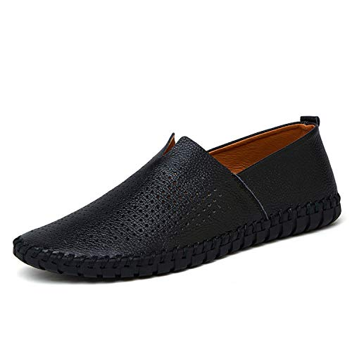 (Men's Driving Shoes Genuine Leather Shoes Fashion Handmade Breathable Flats Slipe On Shoes,Black)