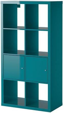Ikea Kallax - Estantería con puertas, turquesa de alto brillo ...