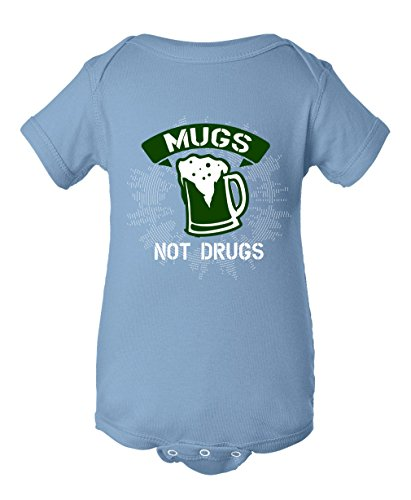 Mugs are not drugs Infant Baby Rib Bodysuit Light Blue Newborn