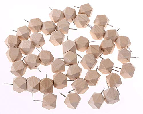 Tupalizy Geometric Wooden Push Pins Decorative Novelty Style Wood Thumb Map Tacks for Cork Boards and Home Office Craft Projects, Natural Color, 50 Pieces 50 Piece Push Pins