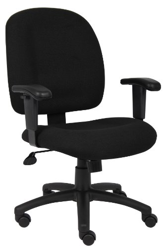 Boss Office Products B495-BK Fabric Task Chair with Adjustable Arms in Black (Chair Highback Breeze)