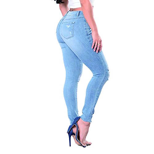 VICVIK Skinny Denim Sexy Hole Jeans for Women Flare Tron Stylish Rock Roll Elastic Jean Pants (L, Light Blue) by VICVIK (Image #4)