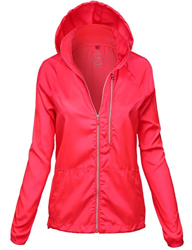 Water Resistant Vertical Pocket Rain Jackets, 116 - Coral, X - Large, 116 - Coral, X - Large