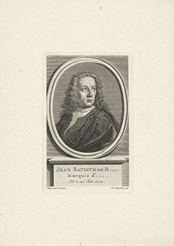 Classic Art Poster   Portrait Of Jean Baptiste De Boyer  Marquis Dargens  Jacob Van Der Schley  1738 17  X 24