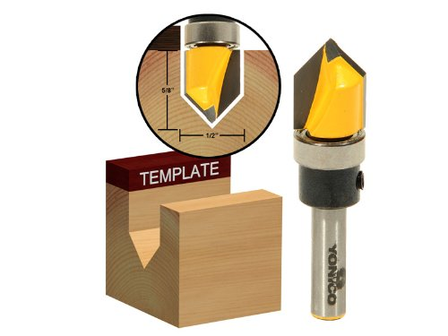 Yonico 14989q 90-Degree V Groove Router Bit with Shank Bearing and 1/2-Inch x 5/8-Inch 1/4-Inch Shank