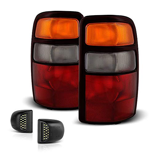 VIPMOTOZ Red & Amber Lens Facelift OE-Style Tail Light Assembly + Full-LED License Plate Lamp Housing Replacement Bundle For 2000-2006 Chevy Tahoe Suburban & GMC Yukon XL 1500 2500