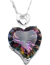 "Sterling Silver Heart Shape Women Pendant Fire Mystic Topaz Chain Necklace 18"""