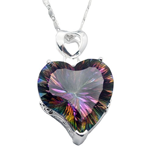 Silver Heart Shape Pendant Fire Mystic Topaz Chain Necklace 18