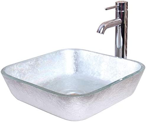 ELITE Crystal Glass Square Artistic Silver Tempered Glass Bathroom Vessel Sink Chrome Finish Faucet Combo