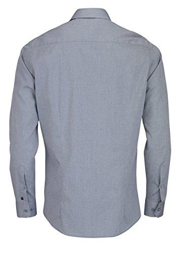 PURE Fashion Fit Hemd Langarm mit Brusttasche hellgrau