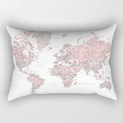 Jagfhhs Dusty Pink And Grey Detailed Watercolor World Map Rectangular Pillow Cover Home Indoor For Decor Fashion Style Comfortanble Cotton Size:12x20 IN (Two Sides): Home & Kitchen