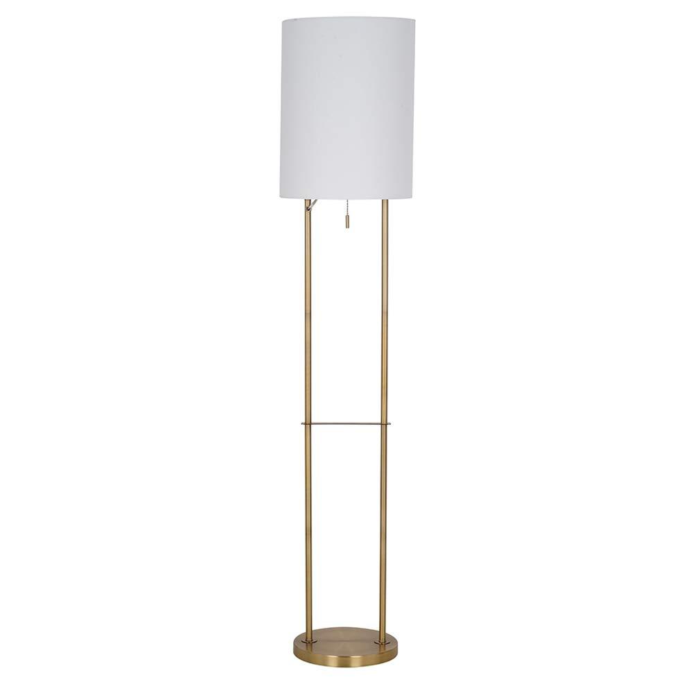 Rivet Modern Metal Floor Lamp with Bulb, 59 H, Antique Brass