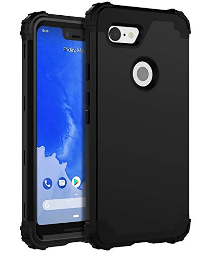 XIQI Google Pixel 3 XL Case Three Layer Heavy Duty Shockproof Protection Anti-Fingerprint Protective Cover - Black