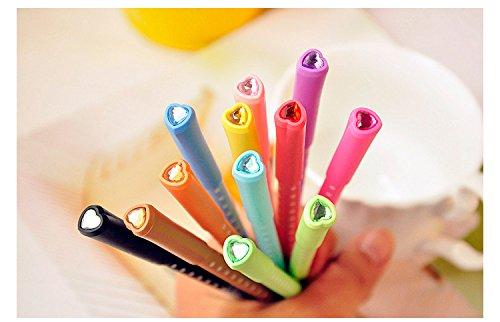 Fatflyshop - 12pcs/pack Candy Color Water Color Pen Dot Love Drill Bit Gel Ink Pen Water-based Pen Stationery