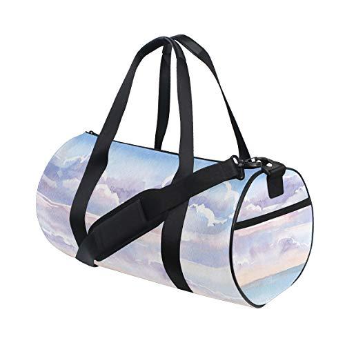 ALLMILL Lightweight Duffle bag Landscape Watercolor Gouache Drawing By Hand Gym bags Oversize Sports bags weekend Overnight Travel handbag for men women student