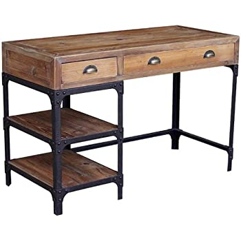 Amazon Com Luca Reclaimed Wood Rustic Iron Industrial