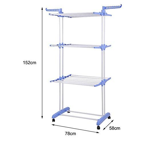Lovelystar Multifunctional Rolling Clothes Organizer Clothing Hanging Drying Storage Garment Rack - Blue