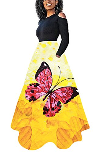 Novia's Choice Women African Floral Print Pleated High Waist Maxi Skirt Casual A Line Skirt(Red Butterfly XL)