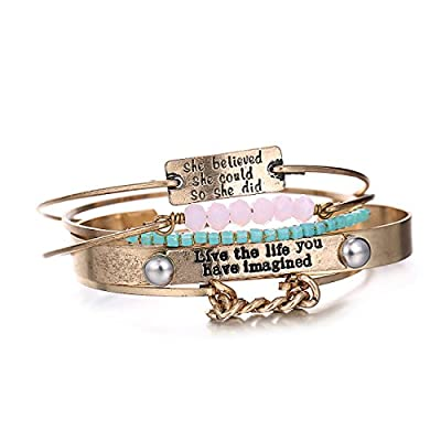 eManco 5 Pieces Stackable Inspirational Message Statement Bracelet Crystal Copper Trending Jewelry