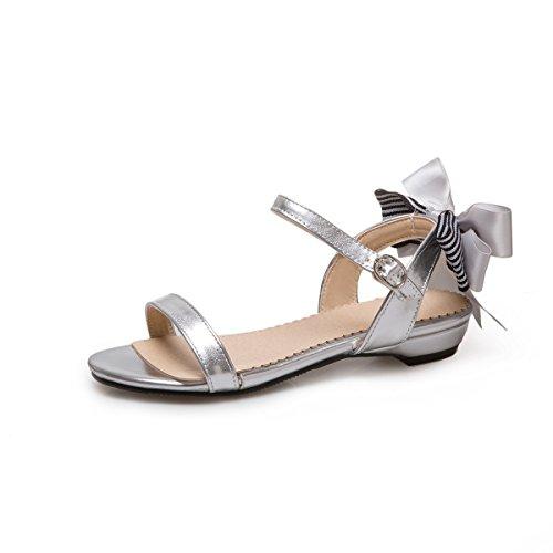 QIN&X La Mujer Sandalias de Tacón Plano Informal Silver