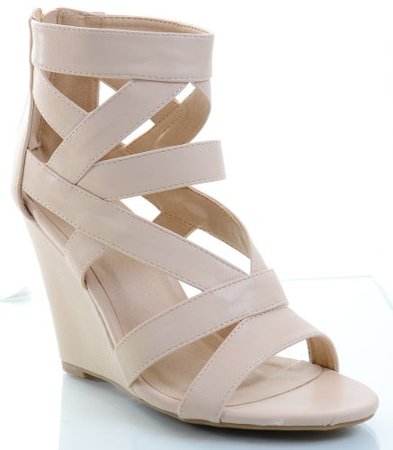 Funky Strappy Toe Open Fourever Anklet Sandal Nude Wedge 5g70xg6qw