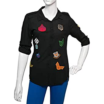Big Dart Black Viscose Shirt Neck Shirts For Women