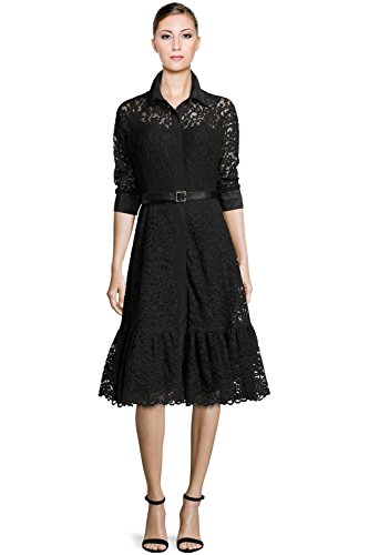 Teri Jon Lace 3/4 Sleeve Belted A-Line Cocktail Shirt Dress