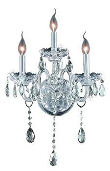 Elegant Lighting 7953W3C/RC Verona 20-Inch High 3-Light Wall Sconce, Chrome Finish with Crystal (Clear) Royal Cut RC Crystal