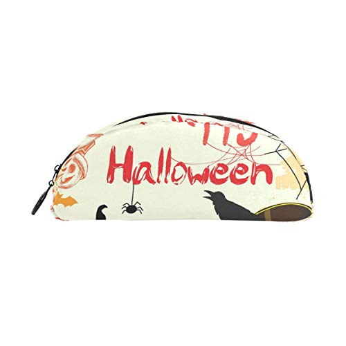 Customize Personalized Pen Case Halloween Crow Pumpkin Semicircular Shell Shaped Pencil Holders Large Capacity Pouch Makeup Cosmetic Boxes School Office Travel Bag