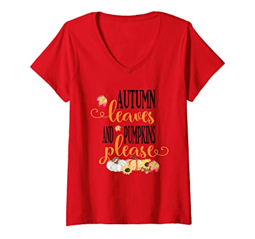 Womens Autumn Leaves and Pumpkins Please Fall Season Holiday V-Neck T-Shirt