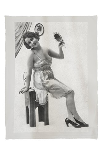 Lantern Press Pin-Up Girl Holding Mirror, But Not Looking 12676 (60x80 Poly Fleece Thick Plush Blanket)