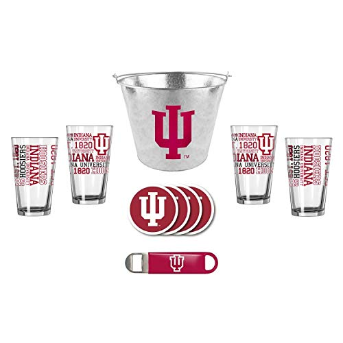- Boelter/Duckhouse NCAA Indiana - Metal Ice Bucket, Spirit Pint Glasses (4), Coasters (4) & Bottle Opener Set | Indiana Hoosiers Beer Bucket Gift Set