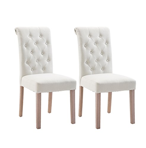 Fabric Dining Chairs Habit Solid Wood High Back Tufted Upholstered Parsons for Dining Room Set of 2 (Beige)