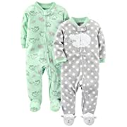 Simple Joys by Carter's Baby 2-Pack Fleece Footed Sleep and Play, Lamb/Elephant, Newborn