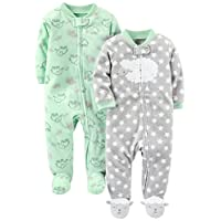 Simple Joys by Carter's Baby 2-Pack Fleece Footed Sleep and Play, Lamb/Elepha...