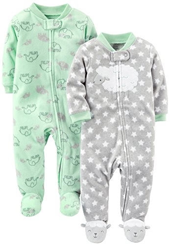 (Simple Joys by Carter's Baby Infant 2-Pack Fleece Footed Sleep and Play, Lamb/Elephant, Preemie)