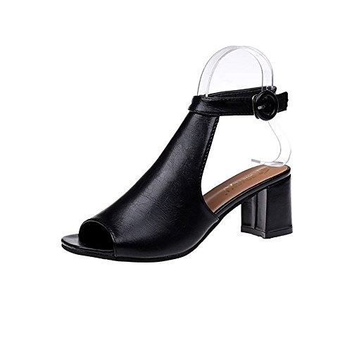 correa tacón CXSM de sexy de ranurada damas gruesa la coreana con shoes versión black sandalias qS4xRZP