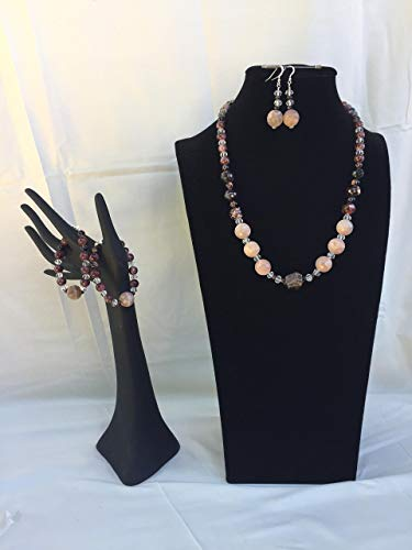 Amazing handmade jewelry set with a necklace, two bracelets and matching dangle earrings. Garnet and mixed gemstones. One of a kind