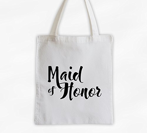 Maid of Honor Cotton Canvas Tote Bag - Brush Script Bridal Party Attendants Gift (3001-MH) ()